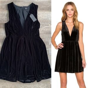 Lucca Black Velvet Deep V Mini Dress